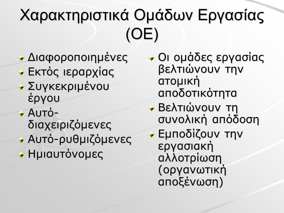 Χαρακτηριστικά Ομάδων Εργασίας (ΟΕ) Διαφοροποιημένες Εκτός ιεραρχίας Συγκεκριμένου έργου Αυτό- διαχειριζόμενες Αυτό-ρυθμιζόμενεςΗμιαυτόνομες Οι ομάδες εργασίας βελτιώνουν την ατομική αποδοτικότητα Βελτιώνουν τη συνολική απόδοση Εμποδίζουν την εργασιακή αλλοτρίωση (οργανωτική αποξένωση)
