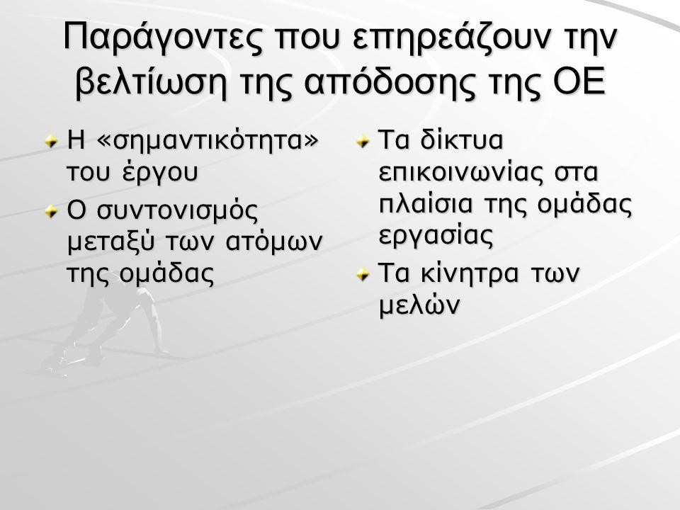 Παράγοντες που επηρεάζουν την βελτίωση της απόδοσης της ΟΕ Η «σημαντικότητα» του έργου Ο συντονισμός μεταξύ των ατόμων της ομάδας Τα δίκτυα επικοινωνίας στα πλαίσια της ομάδας εργασίας Τα κίνητρα των μελών
