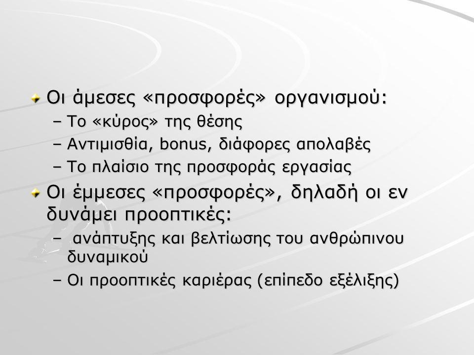 Οι άμεσες «προσφορές» οργανισμού: –To «κύρος» της θέσης –Αντιμισθία, bonus, διάφορες απολαβές –Το πλαίσιο της προσφοράς εργασίας Οι έμμεσες «προσφορές», δηλαδή οι εν δυνάμει προοπτικές: – ανάπτυξης και βελτίωσης του ανθρώπινου δυναμικού –Οι προοπτικές καριέρας (επίπεδο εξέλιξης)
