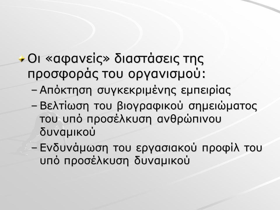 Οι «αφανείς» διαστάσεις της προσφοράς του οργανισμού: –Απόκτηση συγκεκριμένης εμπειρίας –Βελτίωση του βιογραφικού σημειώματος του υπό προσέλκυση ανθρώπινου δυναμικού –Ενδυνάμωση του εργασιακού προφίλ του υπό προσέλκυση δυναμικού