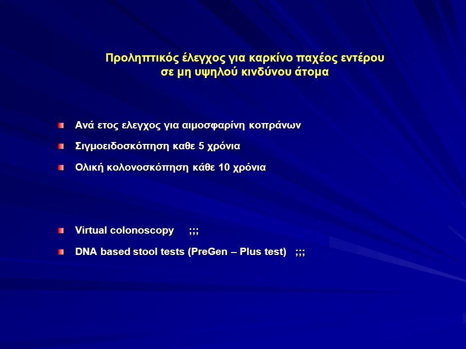 Προληπτικός έλεγχος για καρκίνο παχέος εντέρου σε μη υψηλού κινδύνου άτομα Ανά ετος ελεγχος για αιμοσφαρίνη κοπράνων Σιγμοειδοσκόπηση καθε 5 χρόνια Ολική κολονοσκόπηση κάθε 10 χρόνια Virtual colonoscopy ;;; DNA based stool tests (PreGen – Plus test) ;;;