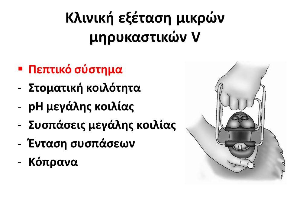  Πεπτικό σύστημα -Στοματική κοιλότητα -pH μεγάλης κοιλίας -Συσπάσεις μεγάλης κοιλίας -Ένταση συσπάσεων -Κόπρανα Κλινική εξέταση μικρών μηρυκαστικών V