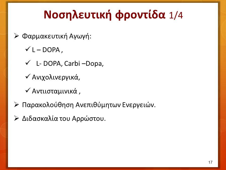 Φαρμακευτική Αγωγή: L – DOPA, L- DOPA, Carbi –Dopa, Ανιχολινεργικά, Αντιισταμινικά,  Παρακολούθηση Ανεπιθύμητων Ενεργειών.