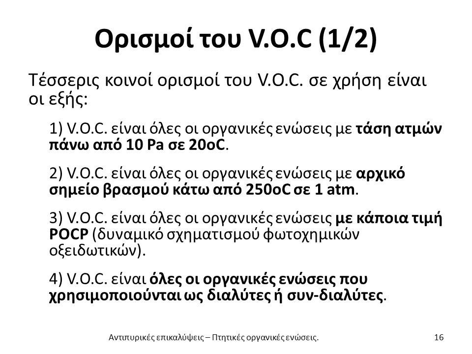 Ορισμοί του V.O.C (1/2) Τέσσερις κοινοί ορισμοί του V.O.C.