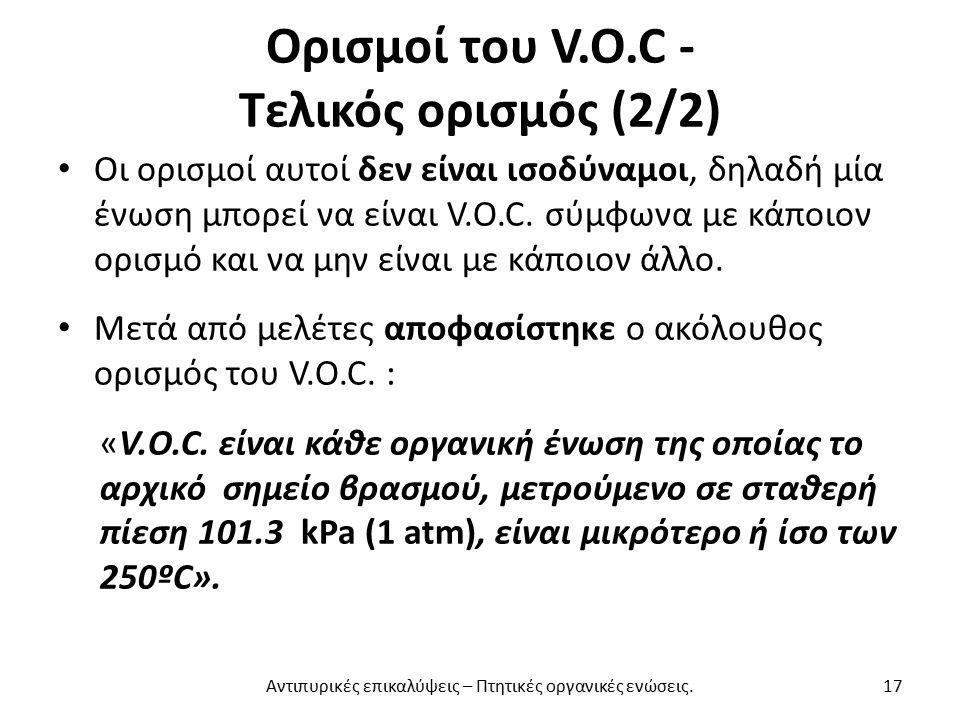 Ορισμοί του V.O.C - Τελικός ορισμός (2/2) Οι ορισμοί αυτοί δεν είναι ισοδύναμοι, δηλαδή μία ένωση μπορεί να είναι V.O.C.