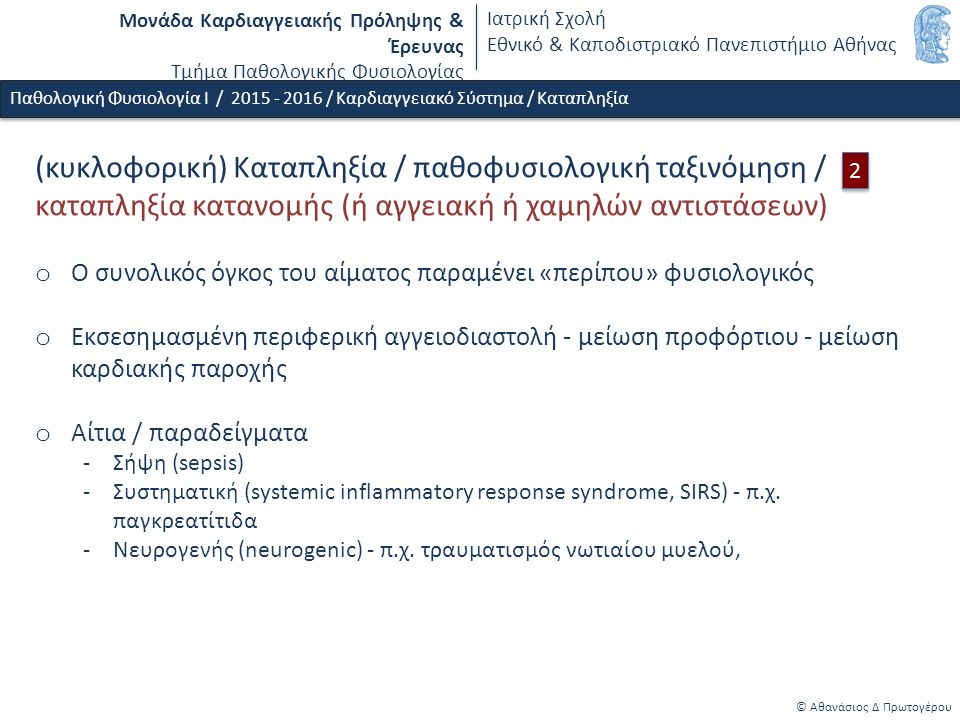 Μονάδα Καρδιαγγειακής Πρόληψης & Έρευνας Τμήμα Παθολογικής Φυσιολογίας Ιατρική Σχολή Εθνικό & Καποδιστριακό Πανεπιστήμιο Αθήνας © Αθανάσιος Δ Πρωτογέρου Παθολογική Φυσιολογία Ι / 2015 - 2016 / Καρδιαγγειακό Σύστημα / Καταπληξία (κυκλοφορική) Καταπληξία / παθοφυσιολογική ταξινόμηση / καταπληξία κατανομής (ή αγγειακή ή χαμηλών αντιστάσεων) o Ο συνολικός όγκος του αίματος παραμένει «περίπου» φυσιολογικός o Εκσεσημασμένη περιφερική αγγειοδιαστολή - μείωση προφόρτιου - μείωση καρδιακής παροχής o Αίτια / παραδείγματα -Σήψη (sepsis) -Συστηματική (systemic inflammatory response syndrome, SIRS) - π.χ.