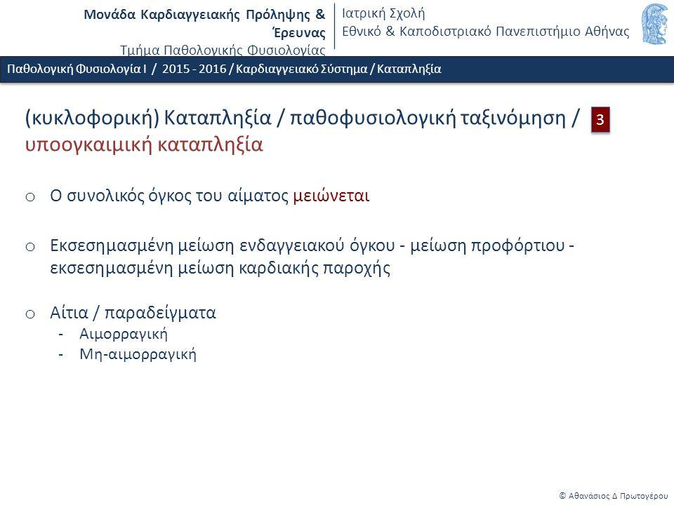 Μονάδα Καρδιαγγειακής Πρόληψης & Έρευνας Τμήμα Παθολογικής Φυσιολογίας Ιατρική Σχολή Εθνικό & Καποδιστριακό Πανεπιστήμιο Αθήνας © Αθανάσιος Δ Πρωτογέρου Παθολογική Φυσιολογία Ι / 2015 - 2016 / Καρδιαγγειακό Σύστημα / Καταπληξία (κυκλοφορική) Καταπληξία / παθοφυσιολογική ταξινόμηση / υποογκαιμική καταπληξία o Ο συνολικός όγκος του αίματος μειώνεται o Εκσεσημασμένη μείωση ενδαγγειακού όγκου - μείωση προφόρτιου - εκσεσημασμένη μείωση καρδιακής παροχής o Αίτια / παραδείγματα -Αιμορραγική -Μη-αιμορραγική 3 3