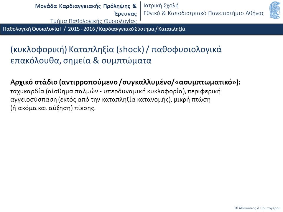 Μονάδα Καρδιαγγειακής Πρόληψης & Έρευνας Τμήμα Παθολογικής Φυσιολογίας Ιατρική Σχολή Εθνικό & Καποδιστριακό Πανεπιστήμιο Αθήνας © Αθανάσιος Δ Πρωτογέρου Παθολογική Φυσιολογία Ι / 2015 - 2016 / Καρδιαγγειακό Σύστημα / Καταπληξία (κυκλοφορική) Καταπληξία (shock) / παθοφυσιολογικά επακόλουθα, σημεία & συμπτώματα Αρχικό στάδιο (αντιρροπούμενο /συγκαλλυμένο/«ασυμπτωματικό»): ταχυκαρδία (αίσθημα παλμών - υπερδυναμική κυκλοφορία), περιφερική αγγειοσύσπαση (εκτός από την καταπληξία κατανομής), μικρή πτώση (ή ακόμα και αύξηση) πίεσης.