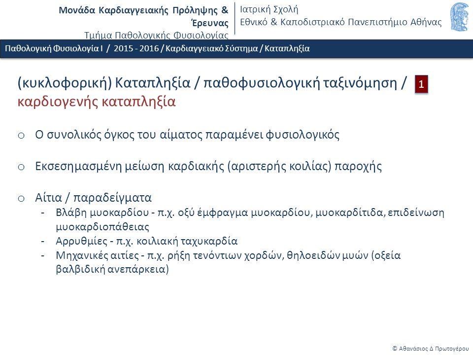 Μονάδα Καρδιαγγειακής Πρόληψης & Έρευνας Τμήμα Παθολογικής Φυσιολογίας Ιατρική Σχολή Εθνικό & Καποδιστριακό Πανεπιστήμιο Αθήνας © Αθανάσιος Δ Πρωτογέρου Παθολογική Φυσιολογία Ι / 2015 - 2016 / Καρδιαγγειακό Σύστημα / Καταπληξία (κυκλοφορική) Καταπληξία / παθοφυσιολογική ταξινόμηση / καρδιογενής καταπληξία o Ο συνολικός όγκος του αίματος παραμένει φυσιολογικός o Εκσεσημασμένη μείωση καρδιακής (αριστερής κοιλίας) παροχής o Αίτια / παραδείγματα -Βλάβη μυοκαρδίου - π.χ.