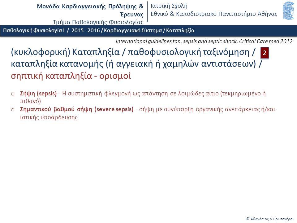 Μονάδα Καρδιαγγειακής Πρόληψης & Έρευνας Τμήμα Παθολογικής Φυσιολογίας Ιατρική Σχολή Εθνικό & Καποδιστριακό Πανεπιστήμιο Αθήνας © Αθανάσιος Δ Πρωτογέρου Παθολογική Φυσιολογία Ι / 2015 - 2016 / Καρδιαγγειακό Σύστημα / Καταπληξία (κυκλοφορική) Καταπληξία / παθοφυσιολογική ταξινόμηση / καταπληξία κατανομής (ή αγγειακή ή χαμηλών αντιστάσεων) / σηπτική καταπληξία - ορισμοί o Σήψη (sepsis) - Η συστηματική φλεγμονή ως απάντηση σε λοιμώδες αίτιο (τεκμηριωμένο ή πιθανό) o Σημαντικού βαθμού σήψη (severe sepsis) - σήψη με συνύπαρξη οργανικής ανεπάρκειας ή/και ιστικής υποάρδευσης International guidelines for..