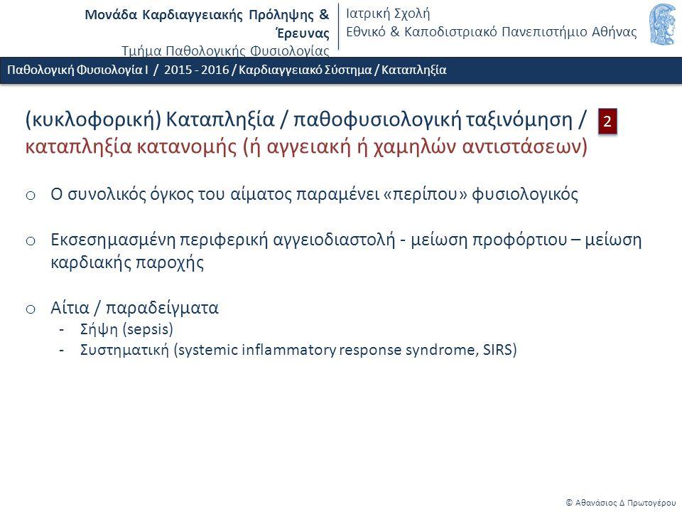 Μονάδα Καρδιαγγειακής Πρόληψης & Έρευνας Τμήμα Παθολογικής Φυσιολογίας Ιατρική Σχολή Εθνικό & Καποδιστριακό Πανεπιστήμιο Αθήνας © Αθανάσιος Δ Πρωτογέρου Παθολογική Φυσιολογία Ι / 2015 - 2016 / Καρδιαγγειακό Σύστημα / Καταπληξία (κυκλοφορική) Καταπληξία / παθοφυσιολογική ταξινόμηση / καταπληξία κατανομής (ή αγγειακή ή χαμηλών αντιστάσεων) o Ο συνολικός όγκος του αίματος παραμένει «περίπου» φυσιολογικός o Εκσεσημασμένη περιφερική αγγειοδιαστολή - μείωση προφόρτιου – μείωση καρδιακής παροχής o Αίτια / παραδείγματα -Σήψη (sepsis) -Συστηματική (systemic inflammatory response syndrome, SIRS) 2 2
