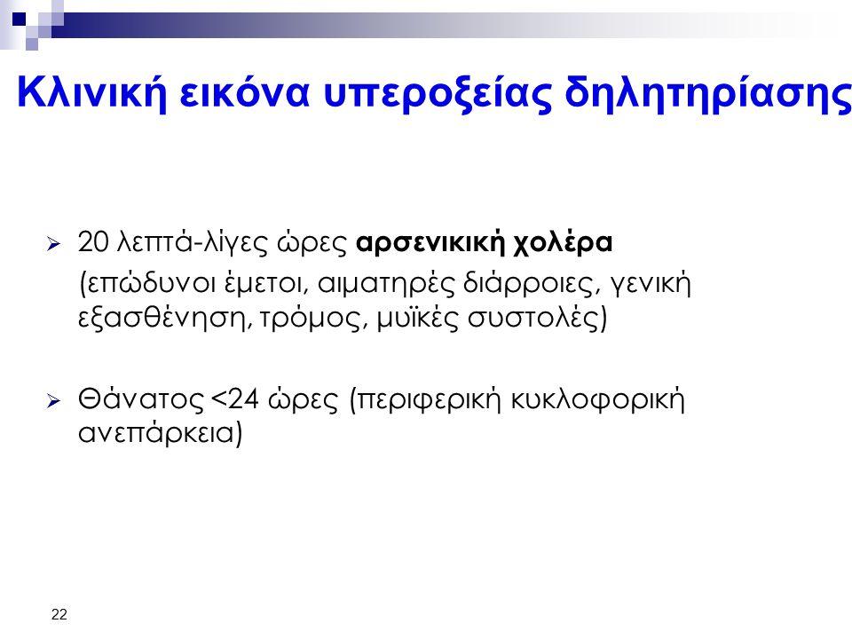 22 Κλινική εικόνα υπεροξείας δηλητηρίασης  20 λεπτά-λίγες ώρες αρσενικική χολέρα (επώδυνοι έμετοι, αιματηρές διάρροιες, γενική εξασθένηση, τρόμος, μυϊκές συστολές)  Θάνατος <24 ώρες (περιφερική κυκλοφορική ανεπάρκεια)