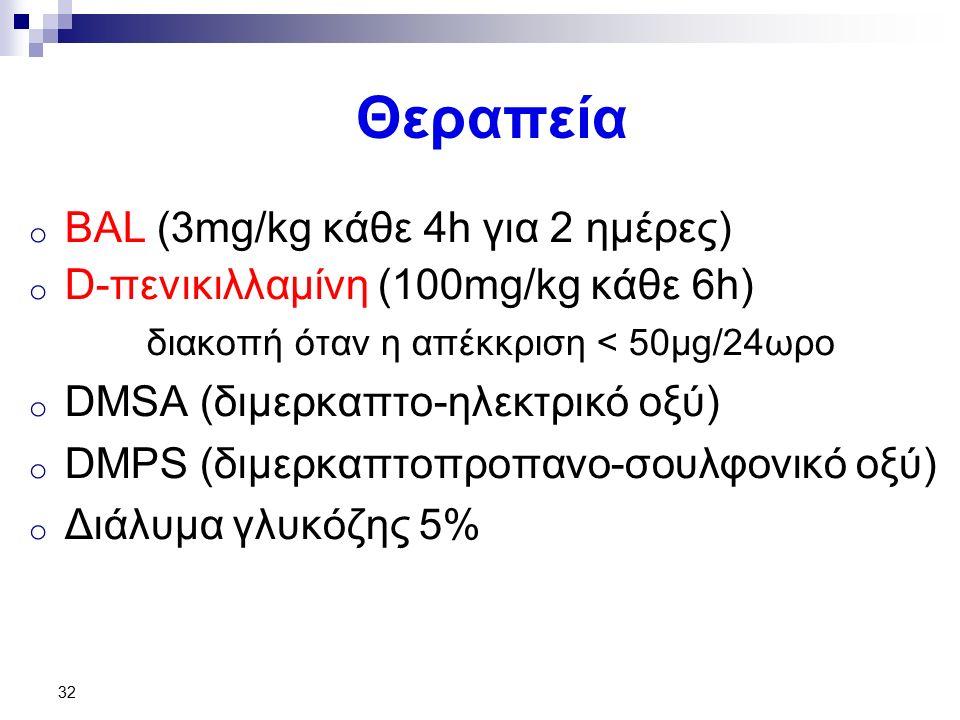 Θεραπεία o BAL (3mg/kg κάθε 4h για 2 ημέρες) o D-πενικιλλαμίνη (100mg/kg κάθε 6h) διακοπή όταν η απέκκριση < 50μg/24ωρο o DMSA (διμερκαπτο-ηλεκτρικό οξύ) o DMPS (διμερκαπτοπροπανο-σουλφονικό οξύ) o Διάλυμα γλυκόζης 5% 32