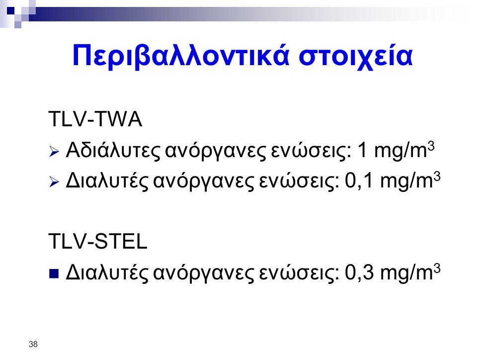 38 Περιβαλλοντικά στοιχεία TLV-TWA  Αδιάλυτες ανόργανες ενώσεις: 1 mg/m 3  Διαλυτές ανόργανες ενώσεις: 0,1 mg/m 3 TLV-STEL Διαλυτές ανόργανες ενώσεις: 0,3 mg/m 3