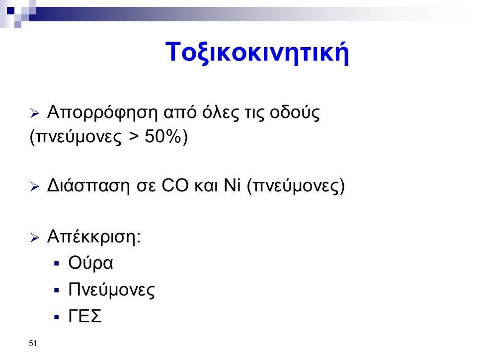 51 Τοξικοκινητική  Απορρόφηση από όλες τις οδούς (πνεύμονες > 50%)  Διάσπαση σε CO και Ni (πνεύμονες)  Απέκκριση:  Ούρα  Πνεύμονες  ΓΕΣ