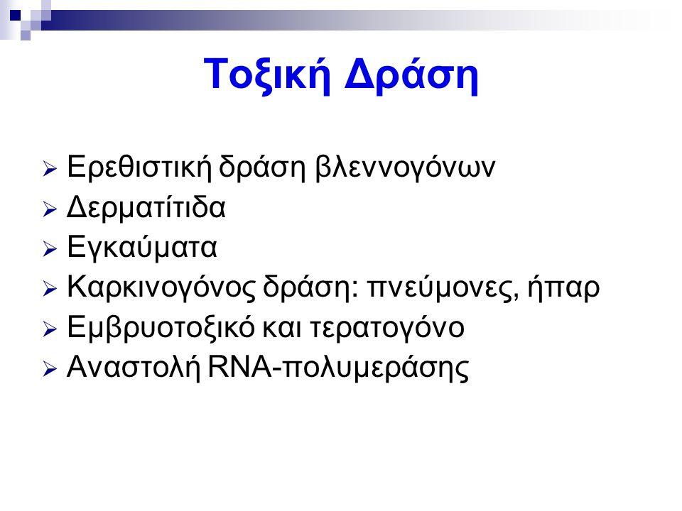 Τοξική Δράση  Ερεθιστική δράση βλεννογόνων  Δερματίτιδα  Εγκαύματα  Καρκινογόνος δράση: πνεύμονες, ήπαρ  Εμβρυοτοξικό και τερατογόνο  Αναστολή RNA-πολυμεράσης