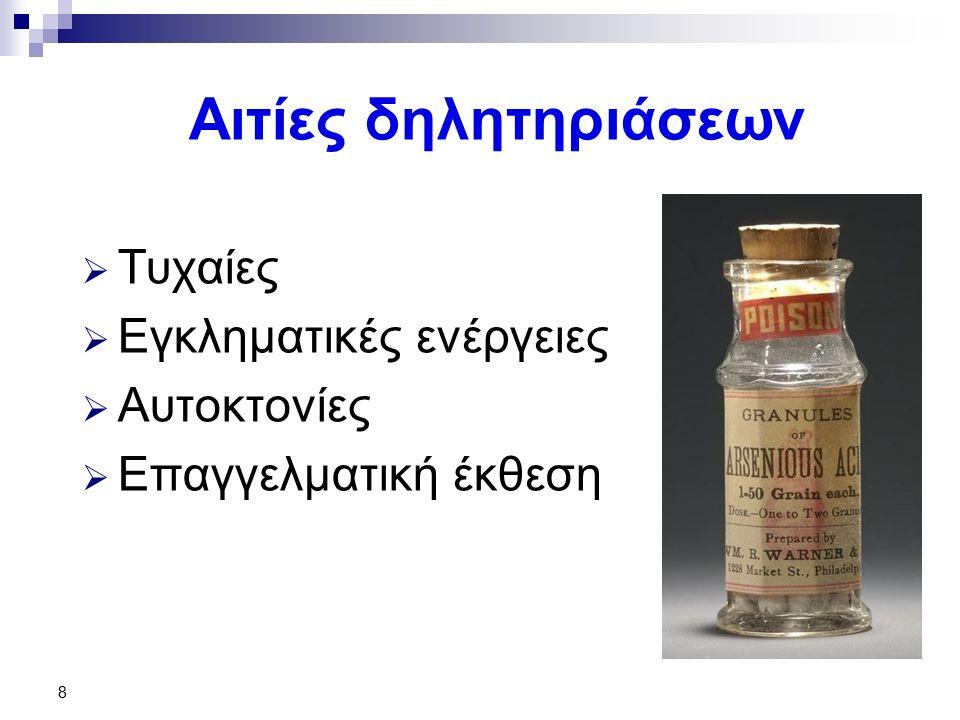 29 Τοξικολογική ανάλυση  Αίμα – ούρα  Φυσιολογική τιμή ούρων: < 50 μg/24ωρο σε δηλητηρίαση: > 100 μg/24ωρο  Οξεία δηλητηρίαση: πρωτεΐνες, σάκχαρo σε ούρα  Χρόνια δηλητηρίαση: Απέκκριση > 100μg/24ωρο, αυξημένη χολερυθρίνη, σάκχαρο, γαλακτικό οξύ  Μεθυλιωμένες μορφές  Παρουσία As στις τρίχες σε συνδυασμό με ούρα  Τρίχες: 0,1 mg/100gr