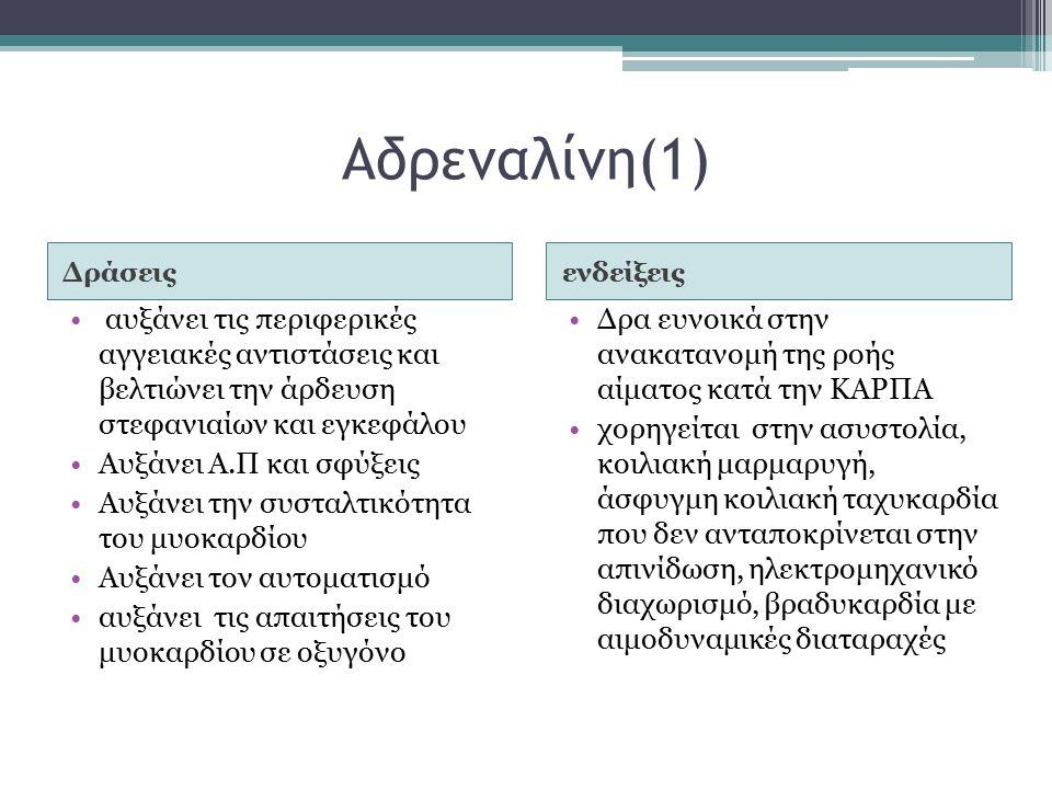 Αδρεναλίνη(1) Δράσειςενδείξεις αυξάνει τις περιφερικές αγγειακές αντιστάσεις και βελτιώνει την άρδευση στεφανιαίων και εγκεφάλου Αυξάνει Α.Π και σφύξεις Αυξάνει την συσταλτικότητα του μυοκαρδίου Αυξάνει τον αυτοματισμό αυξάνει τις απαιτήσεις του μυοκαρδίου σε οξυγόνο Δρα ευνοικά στην ανακατανομή της ροής αίματος κατά την ΚΑΡΠΑ χορηγείται στην ασυστολία, κοιλιακή μαρμαρυγή, άσφυγμη κοιλιακή ταχυκαρδία που δεν ανταποκρίνεται στην απινίδωση, ηλεκτρομηχανικό διαχωρισμό, βραδυκαρδία με αιμοδυναμικές διαταραχές