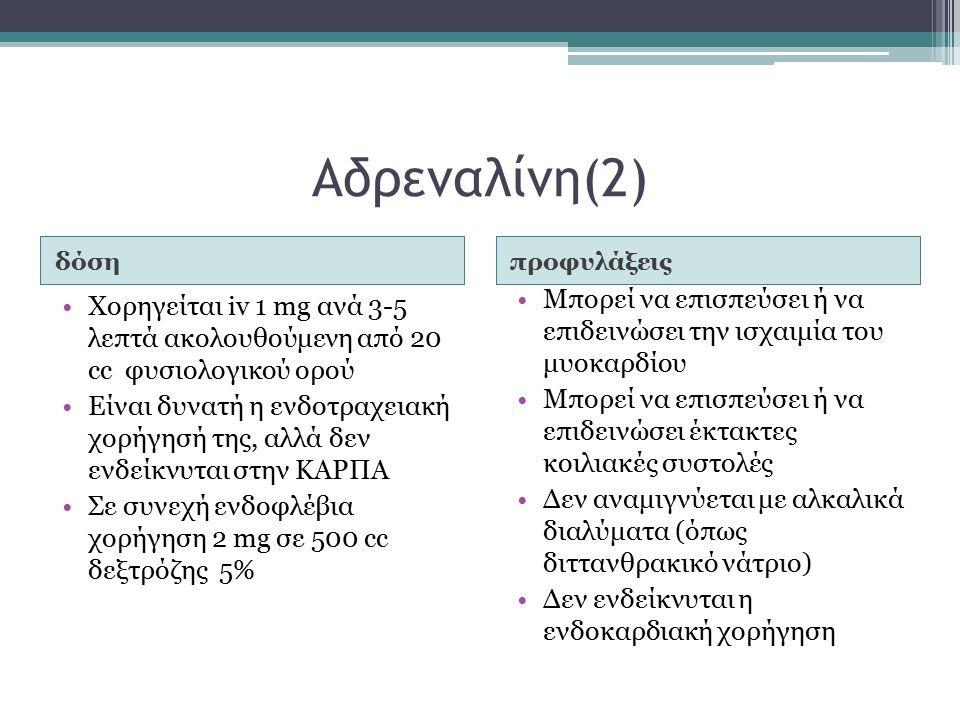 Αδρεναλίνη(2) δόσηπροφυλάξεις Χορηγείται iv 1 mg ανά 3-5 λεπτά ακολουθούμενη από 20 cc φυσιολογικού ορού Είναι δυνατή η ενδοτραχειακή χορήγησή της, αλλά δεν ενδείκνυται στην ΚΑΡΠΑ Σε συνεχή ενδοφλέβια χορήγηση 2 mg σε 500 cc δεξτρόζης 5% Μπορεί να επισπεύσει ή να επιδεινώσει την ισχαιμία του μυοκαρδίου Μπορεί να επισπεύσει ή να επιδεινώσει έκτακτες κοιλιακές συστολές Δεν αναμιγνύεται με αλκαλικά διαλύματα (όπως διττανθρακικό νάτριο) Δεν ενδείκνυται η ενδοκαρδιακή χορήγηση