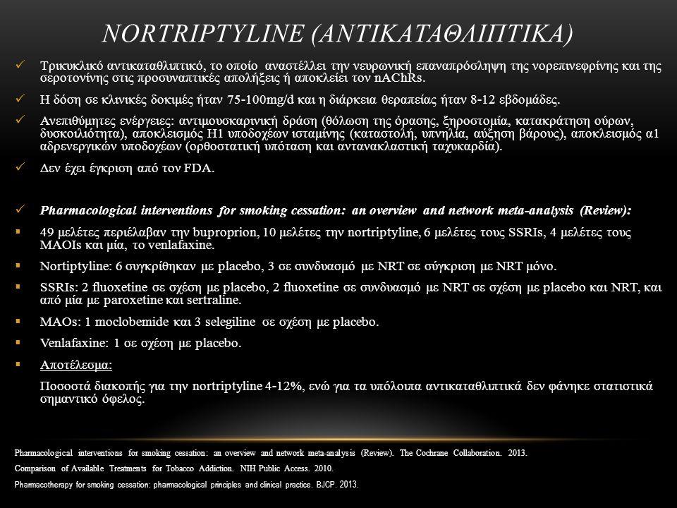 NORTRIPTYLINE (ΑΝΤΙΚΑΤΑΘΛΙΠΤΙΚΑ) Τρικυκλικό αντικαταθλιπτικό, το οποίο αναστέλλει την νευρωνική επαναπρόσληψη της νορεπινεφρίνης και της σεροτονίνης στις προσυναπτικές απολήξεις ή αποκλείει τον nAChRs.