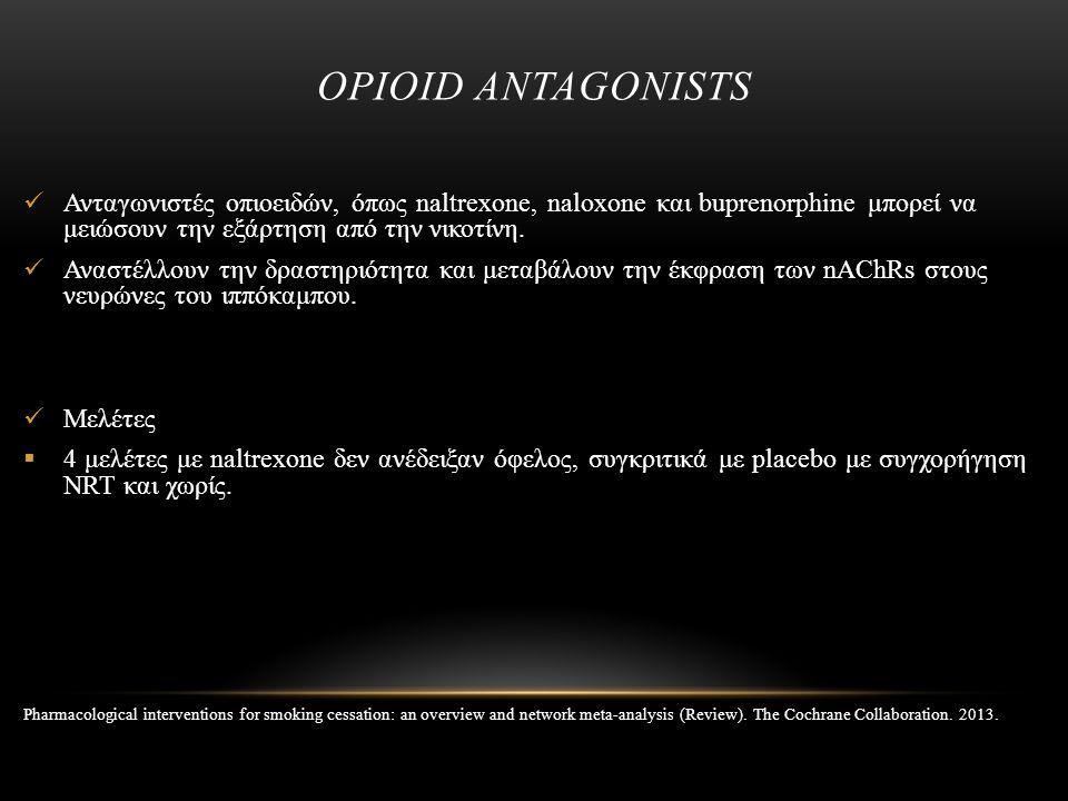 OPIOID ANTAGONISTS Ανταγωνιστές οπιοειδών, όπως naltrexone, naloxone και buprenorphine μπορεί να μειώσουν την εξάρτηση από την νικοτίνη. Αναστέλλουν τ