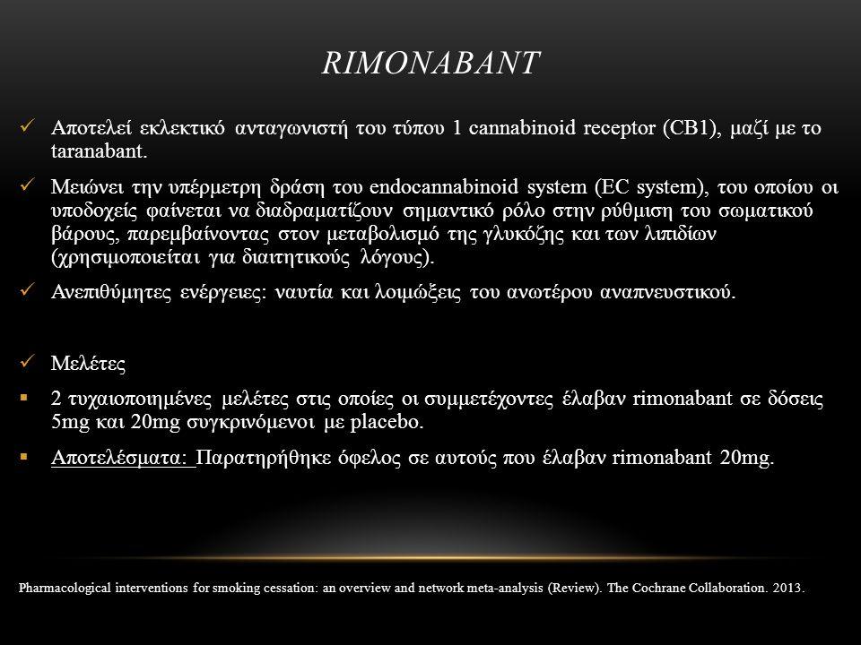 RIMONABANT Αποτελεί εκλεκτικό ανταγωνιστή του τύπου 1 cannabinoid receptor (CB1), μαζί με το taranabant. Μειώνει την υπέρμετρη δράση του endocannabino