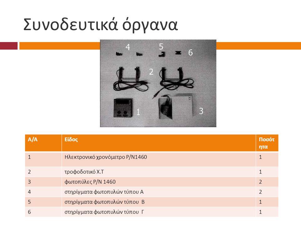 Συνοδευτικά όργανα Α/ΑΑ/ΑΕίδοςΠοσότ ητα 1 Ηλεκτρονικό χρονόμετρο Ρ / Ν 1460 1 2 τροφοδοτικό Χ.