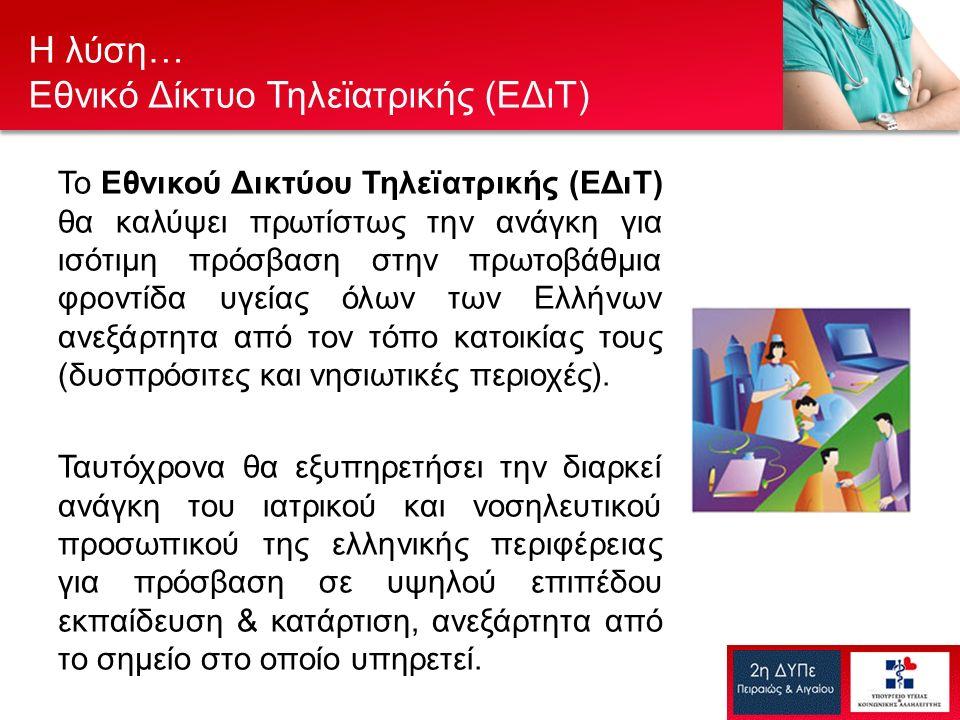 Το Εθνικού Δικτύου Τηλεϊατρικής (ΕΔιΤ) θα καλύψει πρωτίστως την ανάγκη για ισότιμη πρόσβαση στην πρωτοβάθμια φροντίδα υγείας όλων των Ελλήνων ανεξάρτητα από τον τόπο κατοικίας τους (δυσπρόσιτες και νησιωτικές περιοχές).
