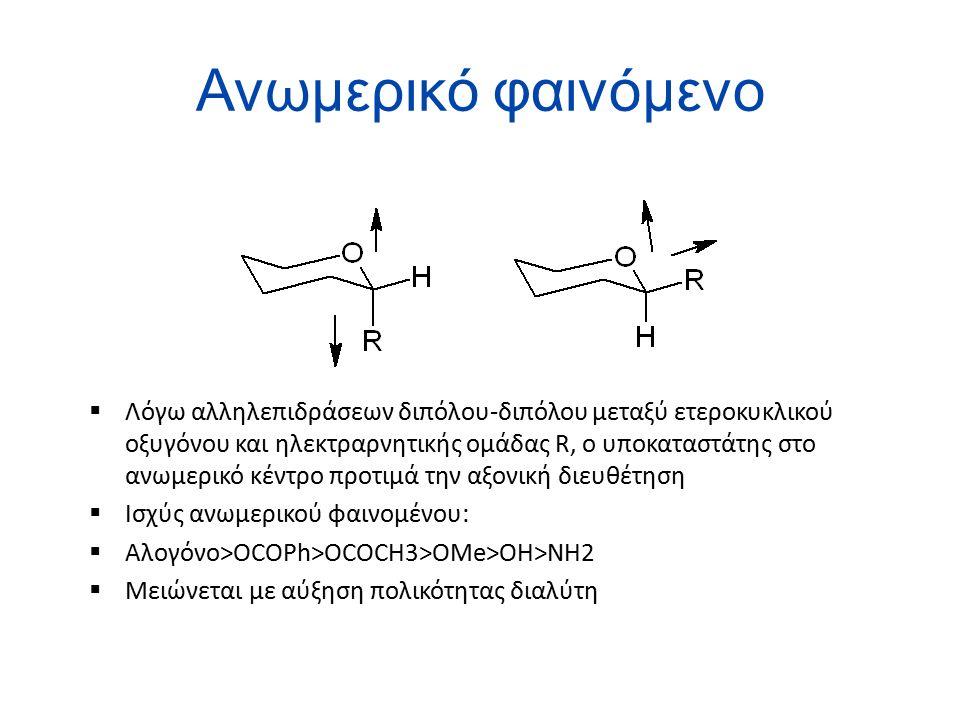Ανωμερικό φαινόμενο  Λόγω αλληλεπιδράσεων διπόλου-διπόλου μεταξύ ετεροκυκλικού οξυγόνου και ηλεκτραρνητικής ομάδας R, ο υποκαταστάτης στο ανωμερικό κέντρο προτιμά την αξονική διευθέτηση  Ισχύς ανωμερικού φαινομένου:  Αλογόνο>ΟCOPh>OCOCH3>OMe>OH>NH2  Μειώνεται με αύξηση πολικότητας διαλύτη