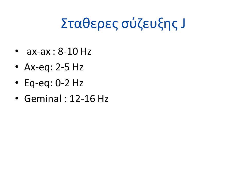 Σταθερες σύζευξης J ax-ax : 8-10 Hz Ax-eq: 2-5 Hz Eq-eq: 0-2 Hz Geminal : 12-16 Hz
