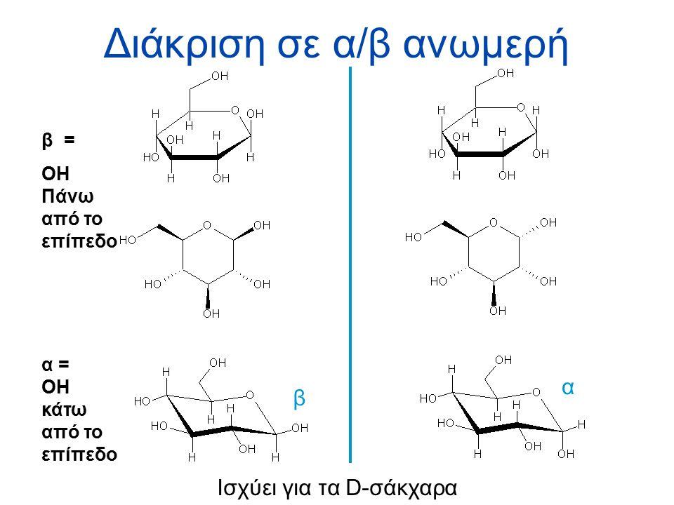 Διάκριση σε α/β ανωμερή β α Ισχύει για τα D-σάκχαρα β = OH Πάνω από το επίπεδο α = OH κάτω από το επίπεδο