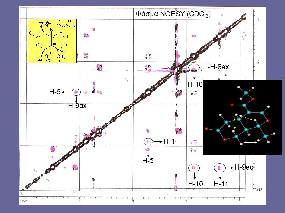 H-9eq H-11 H-6ax H-10 H-5 H-9ax H-1 H-5 Φάσμα NOESY (CDCl 3 ) H-10