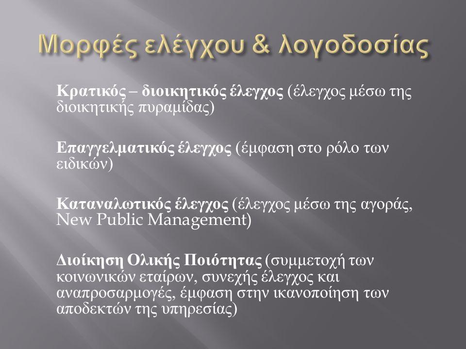 Κρατικός – διοικητικός έλεγχος ( έλεγχος μέσω της διοικητικής πυραμίδας ) Επαγγελματικός έλεγχος ( έμφαση στο ρόλο των ειδικών ) Καταναλωτικός έλεγχος ( έλεγχος μέσω της αγοράς, New Public Management) Διοίκηση Ολικής Ποιότητας ( συμμετοχή των κοινωνικών εταίρων, συνεχής έλεγχος και αναπροσαρμογές, έμφαση στην ικανοποίηση των αποδεκτών της υπηρεσίας )