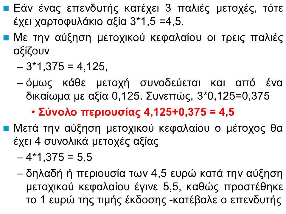 Εάν ένας επενδυτής κατέχει 3 παλιές μετοχές, τότε έχει χαρτοφυλάκιο αξία 3*1,5 =4,5.