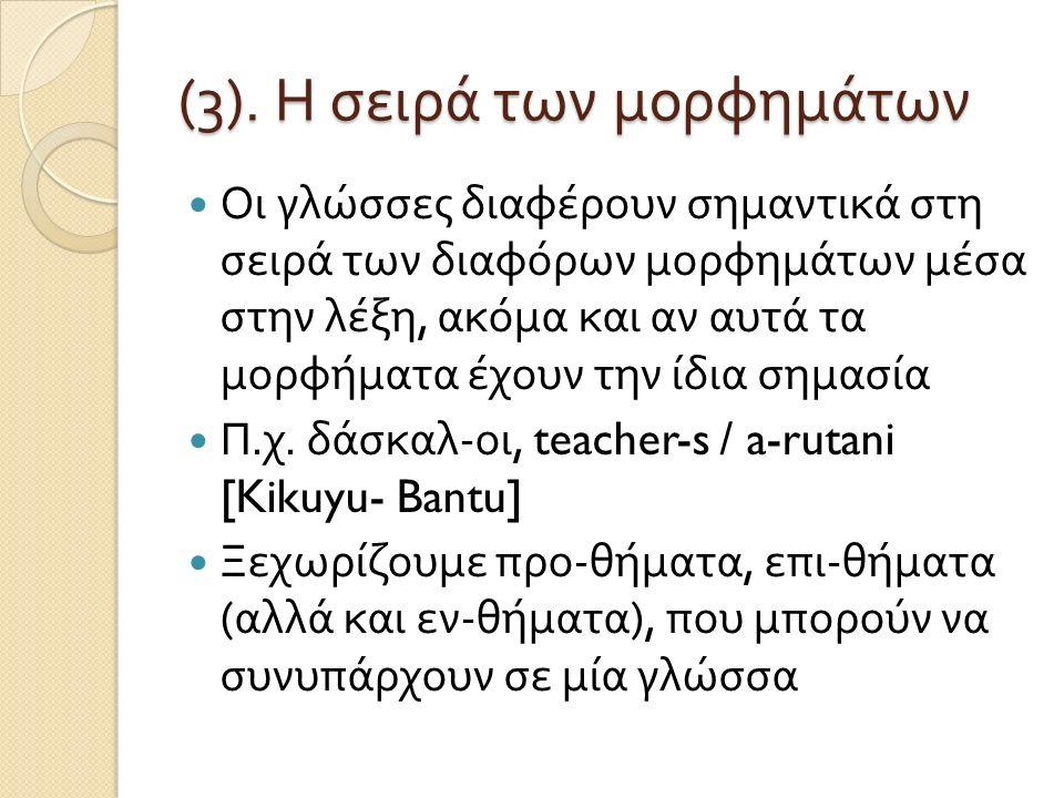 (3). Η σειρά των μορφημάτων Οι γλώσσες διαφέρουν σημαντικά στη σειρά των διαφόρων μορφημάτων μέσα στην λέξη, ακόμα και αν αυτά τα μορφήματα έχουν την