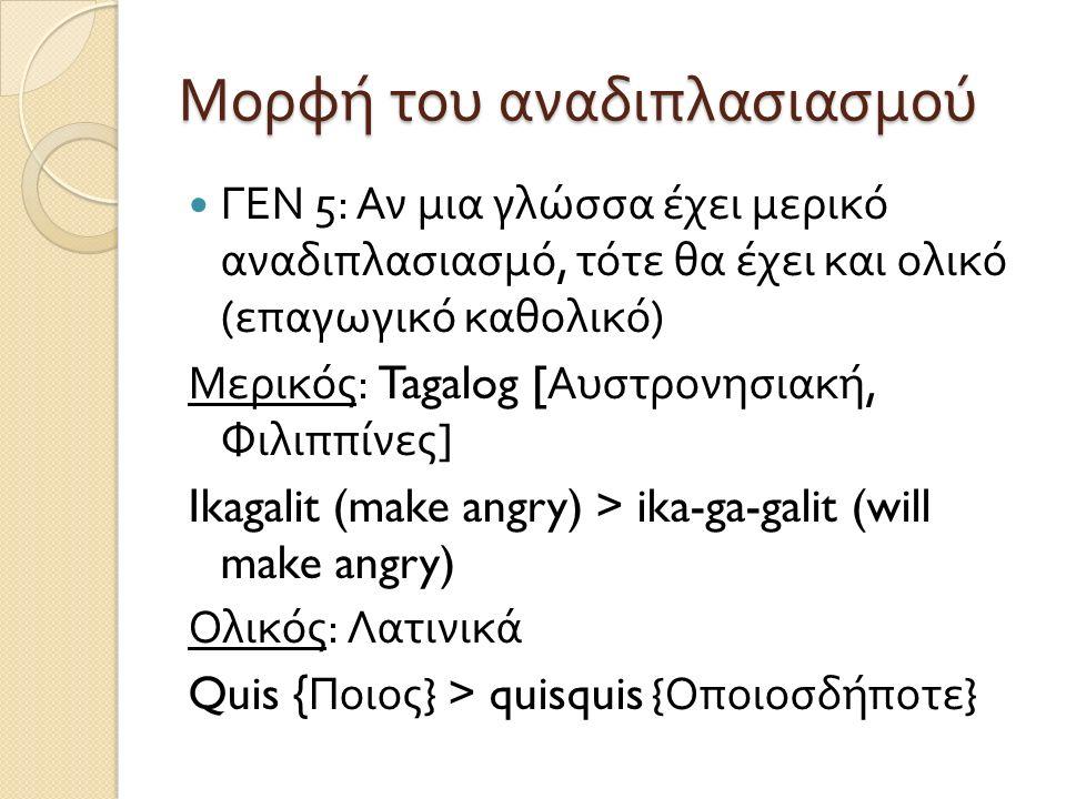 Μορφή του αναδιπλασιασμού ΓΕΝ 5: Αν μια γλώσσα έχει μερικό αναδιπλασιασμό, τότε θα έχει και ολικό ( επαγωγικό καθολικό ) Μερικός : Tagalog [ Αυστρονησιακή, Φιλιππίνες ] Ikagalit (make angry) > ika-ga-galit (will make angry) Ολικός : Λατινικά Quis { Ποιος } > quisquis { Οποιοσδήποτε }