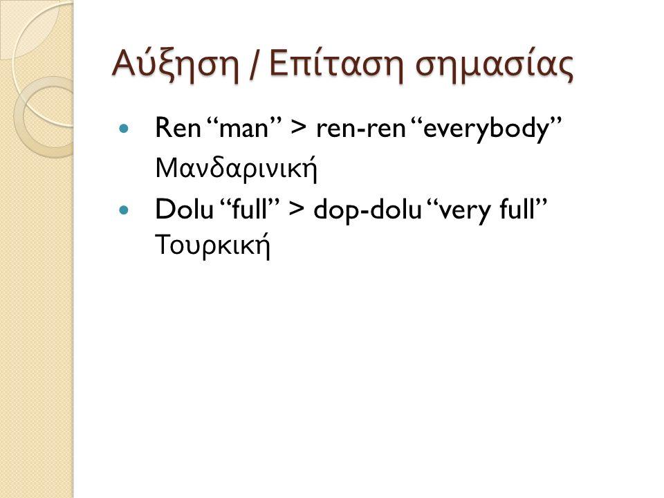 Αύξηση / Επίταση σημασίας Ren man > ren-ren everybody Μανδαρινική Dolu full > dop-dolu very full Τουρκική