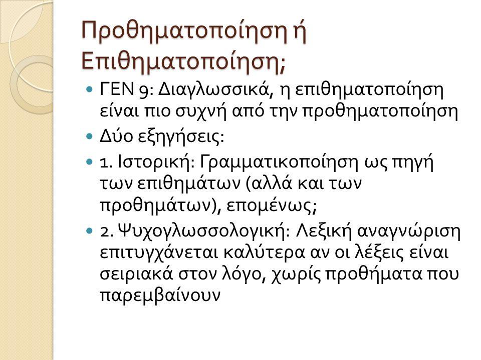 Προθηματοποίηση ή Επιθηματοποίηση ; ΓΕΝ 9: Διαγλωσσικά, η επιθηματοποίηση είναι πιο συχνή από την προθηματοποίηση Δύο εξηγήσεις : 1. Ιστορική : Γραμμα