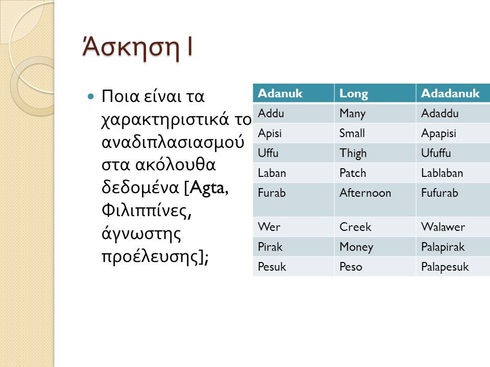 Άσκηση Ι Ποια είναι τα χαρακτηριστικά του αναδιπλασιασμού στα ακόλουθα δεδομένα [Agta, Φιλιππίνες, άγνωστης προέλευσης ]; AdanukLongAdadanukVery long