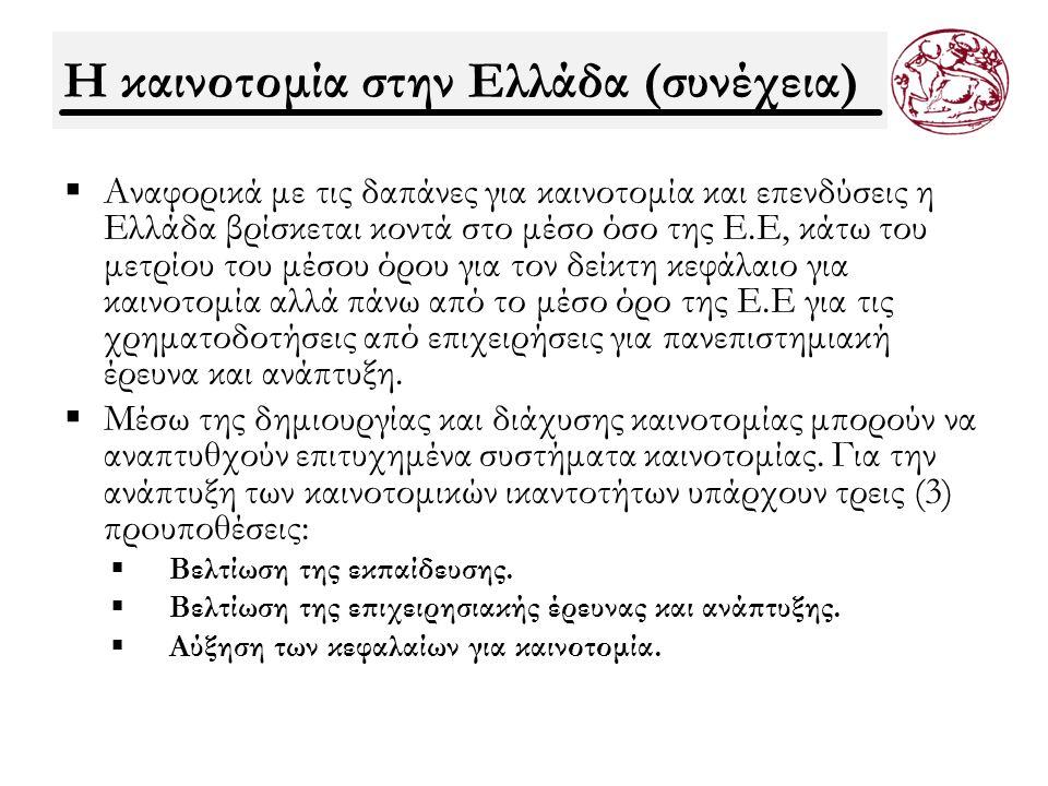 Η καινοτομία στην Ελλάδα (συνέχεια)  Αναφορικά με τις δαπάνες για καινοτομία και επενδύσεις η Ελλάδα βρίσκεται κοντά στο μέσο όσο της Ε.Ε, κάτω του μετρίου του μέσου όρου για τον δείκτη κεφάλαιο για καινοτομία αλλά πάνω από το μέσο όρο της Ε.Ε για τις χρηματοδοτήσεις από επιχειρήσεις για πανεπιστημιακή έρευνα και ανάπτυξη.