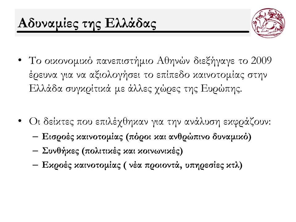 Αδυναμίες της Ελλάδας Η Ελλάδα παρουσιάζει αδυναμίες στα ακόλουθα: Η υστέρηση της Ελλάδας στην καινοτομία είναι συστηματική: η Ελλάδα υστερεί σε όλους τους δείκτες των εκθέσεων συγκριτικά με τις ηγέτιδες χώρες στην καινοτομία ( EIS 2007, IMD 2008, GCR 2008), όπως επίσης υστερούν και σε όλους τους δείκτες εισροών, συνθηκών και εκροών της καινοτομίας.