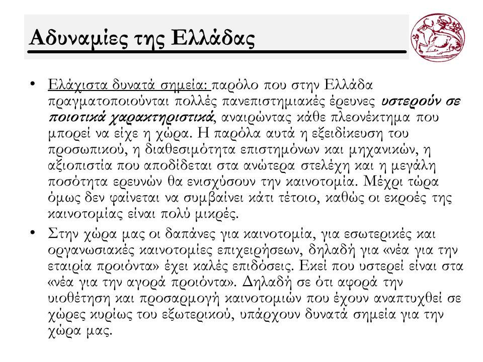 Αδυναμίες της Ελλάδας Ελάχιστα δυνατά σημεία: παρόλο που στην Ελλάδα πραγματοποιούνται πολλές πανεπιστημιακές έρευνες υστερούν σε ποιοτικά χαρακτηριστικά, αναιρώντας κάθε πλεονέκτημα που μπορεί να είχε η χώρα.