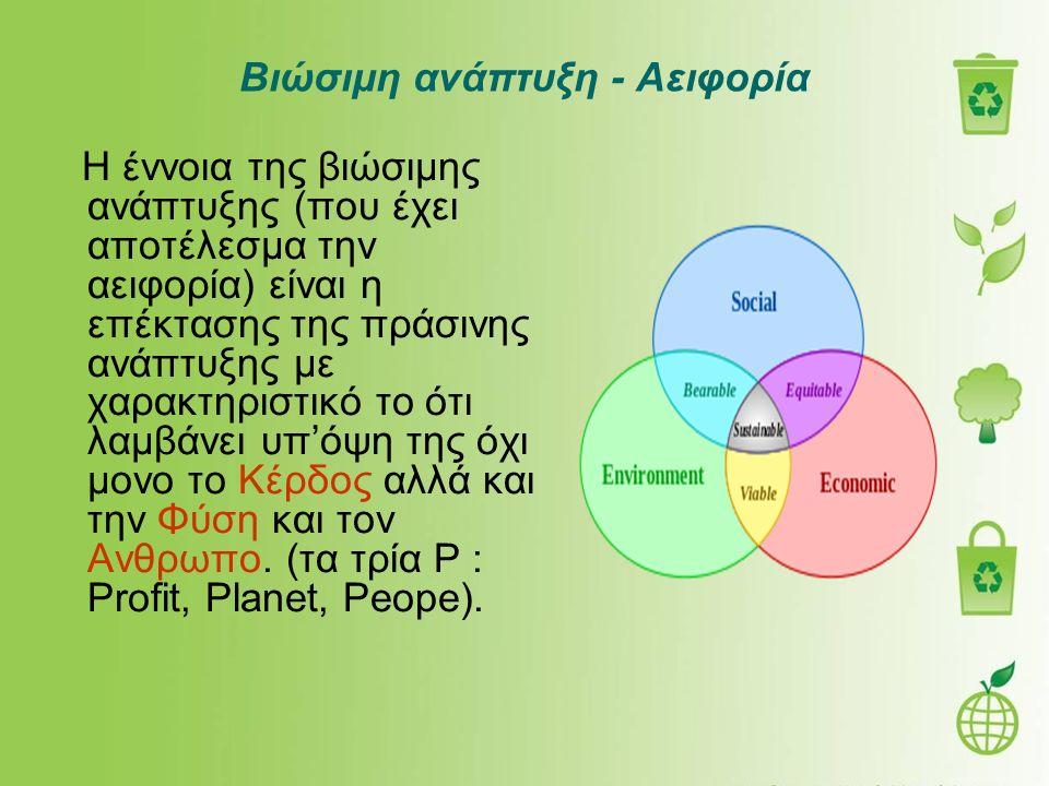 Βιώσιμη ανάπτυξη - Αειφορία Η έννοια της βιώσιμης ανάπτυξης (που έχει αποτέλεσμα την αειφορία) είναι η επέκτασης της πράσινης ανάπτυξης με χαρακτηριστ