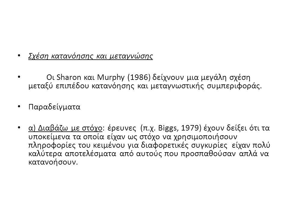 Σχέση κατανόησης και μεταγνώσης Οι Sharon και Murphy (1986) δείχνουν μια μεγάλη σχέση μεταξύ επιπέδου κατανόησης και μεταγνωστικής συμπεριφοράς.