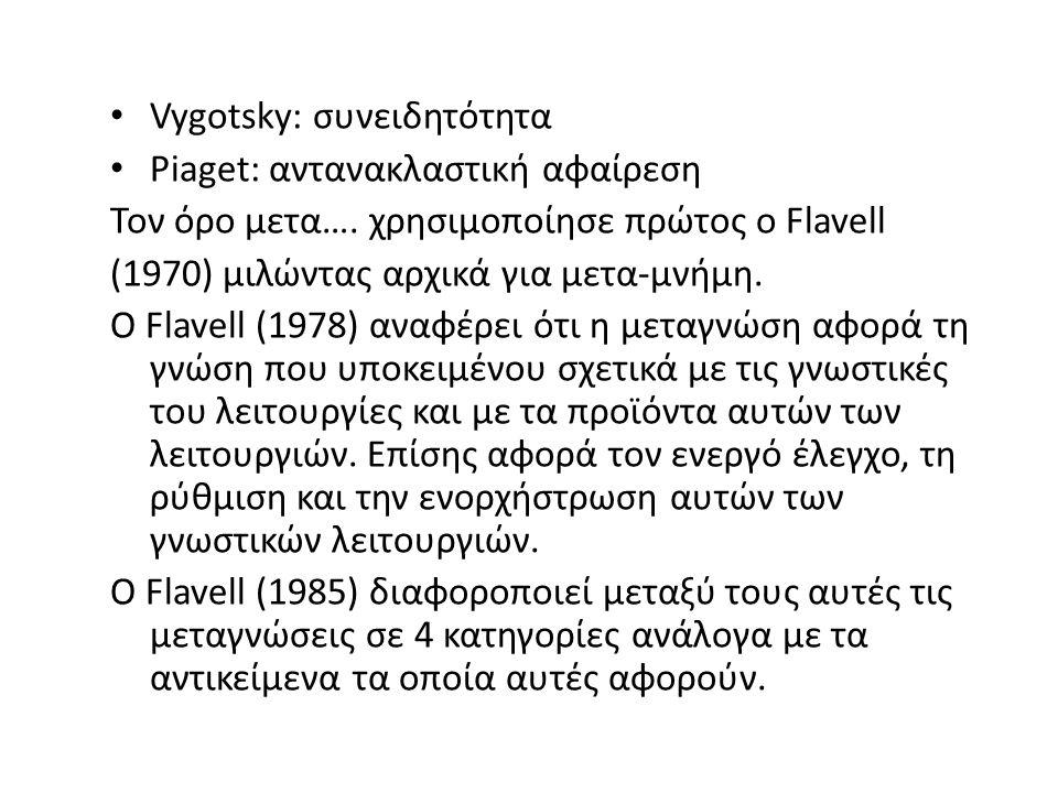 Vygotsky: συνειδητότητα Piaget: αντανακλαστική αφαίρεση Τον όρο μετα….