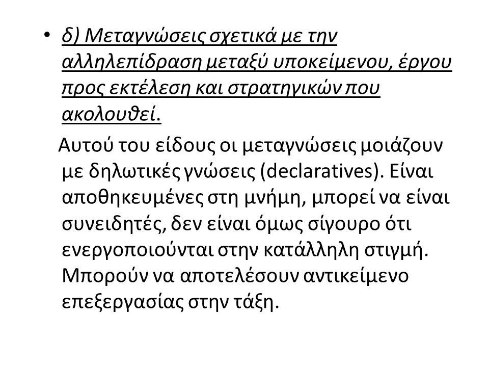 δ) Μεταγνώσεις σχετικά με την αλληλεπίδραση μεταξύ υποκείμενου, έργου προς εκτέλεση και στρατηγικών που ακολουθεί.