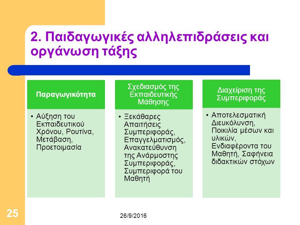 2. Παιδαγωγικές αλληλεπιδράσεις και οργάνωση τάξης Παραγωγικότητα Αύξηση του Εκπαιδευτικού Χρόνου, Ρουτίνα, Μετάβαση, Προετοιμασία Σχεδιασμός της Εκπα