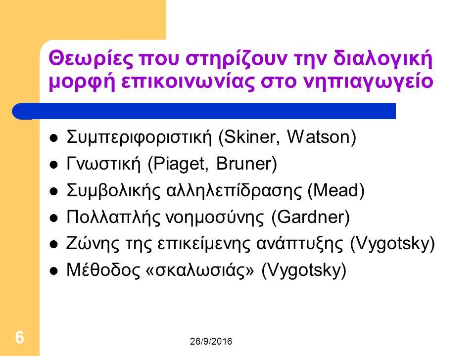 26/9/2016 6 Θεωρίες που στηρίζουν την διαλογική μορφή επικοινωνίας στο νηπιαγωγείο Συμπεριφοριστική (Skiner, Watson) Γνωστική (Piaget, Bruner) Συμβολικής αλληλεπίδρασης (Mead) Πολλαπλής νοημοσύνης (Gardner) Ζώνης της επικείμενης ανάπτυξης (Vygotsky) Μέθοδος «σκαλωσιάς» (Vygotsky)