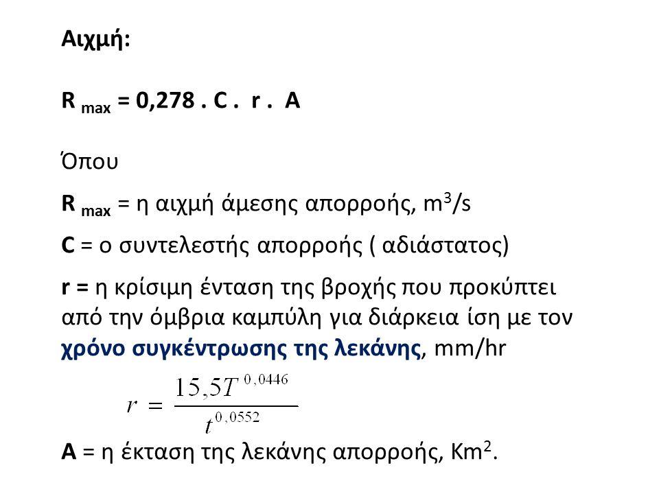Αιχμή: R max = 0,278. C. r. A Όπου R max = η αιχμή άμεσης απορροής, m 3 /s C = ο συντελεστής απορροής ( αδιάστατος) r = η κρίσιμη ένταση της βροχής πο