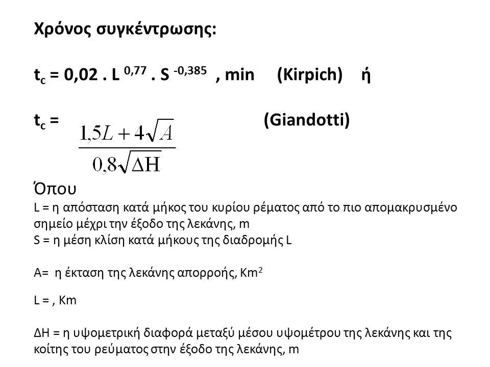 Χρόνος συγκέντρωσης: t c = 0,02. L 0,77. S -0,385, min (Kirpich) ή t c = (Giandotti) Όπου L = η απόσταση κατά μήκος του κυρίου ρέματος από το πιο απομ